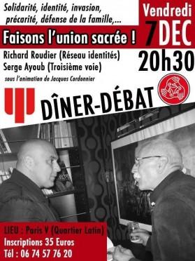 Dîner débat à Paris avec Richard Roudier et Serge Ayoub