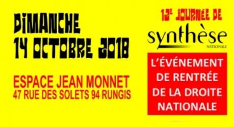 12e journée de Synthèse Nationale le dimanche 14 octobre à Rungis (94)