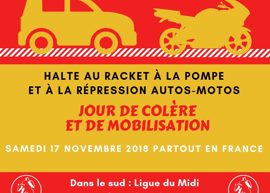 Le 17 novembre, de Menton à Bordeaux : Halte au racket à la pompe !