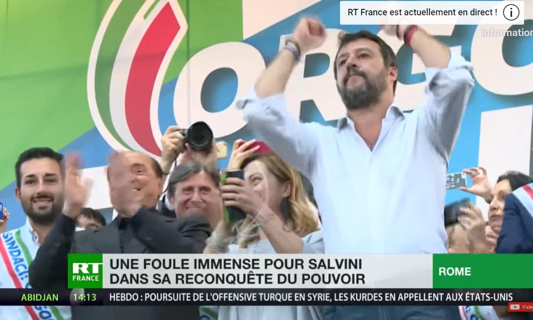 « Grazie » : Salvini devant des dizaines de milliers de sympathisants réunis à Rome